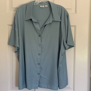 Cato Woman Teal Short Sleeve Button Up, Sz 22/24W